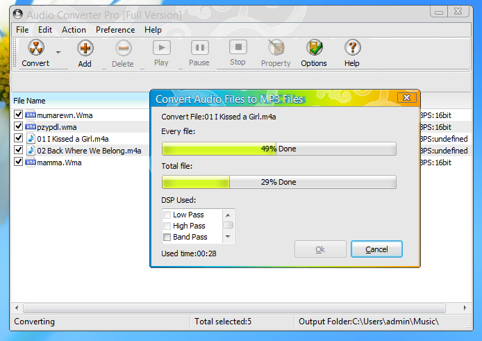 Audio Converter Pro, Batch convert MP3, WMA, WAV, MP4, M4A